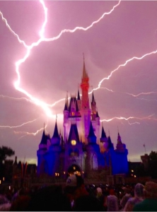 Lightening Strikes at Magic Kingdom Castle Disney World